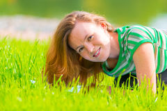 Portrait of charming girl in green t-shirt Stock Photos