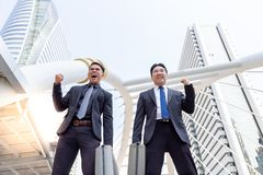 Portrait charming handsome successful businessmen. Handsome chin stock images