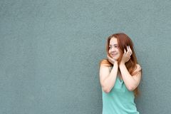 Happy red hair girl royalty free stock images