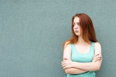 Happy red hair girl royalty free stock photo