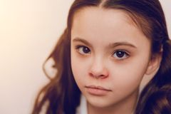 Portrait of charming kid that posing on camera Royalty Free Stock Image