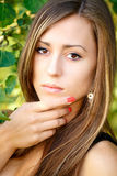 Portrait of a charming lady woman girl outdoor Royalty Free Stock Images