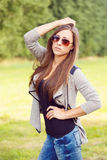Portrait of charming lady woman girl with sunglasses Stock Image