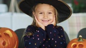 Smiling girl. Portrait of charming little girl stock video