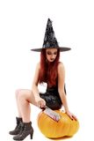 Portrait of a charming red-haired witch holding pumpkin . Hallow Stock Images