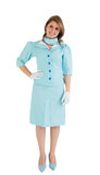 Portrait of a charming stewardess dressed in blue uniform Stock Image