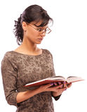 Portrait of charming student with textbook Stock Images