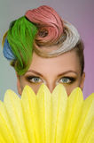 Portrait of charming woman with colorful makeup Stock Images