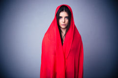 Portrait of charming woman in red cloth Stock Photo