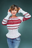 Portrait charming young lady with short wavy hair in embroidery. Stock Photography
