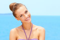 Portrait of charming young woman smiling Stock Images