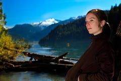 Portrait at Cheakamus Lake. Pretty girl portrait at Cheakamus lake in Garibaldi Provincial, British Columbia, Canada Royalty Free Stock Photos