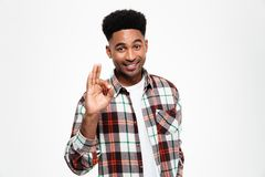 Portrait of a cheerful african man dressed in plaid shirt. Showing ok gesture and looking at camera isolated over white background Royalty Free Stock Photo