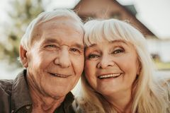 Portrait of cheerful aged man and woman Royalty Free Stock Photos