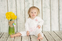 Portrait of cheerful baby girl with Down syndrome. Portrait of cheerful girl with Down syndrome Royalty Free Stock Image
