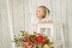 Portrait of cheerful baby girl with Down syndrome. Portrait of cheerful girl with Down syndrome Royalty Free Stock Photo