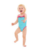 Portrait of cheerful baby in swimsuit Stock Photography