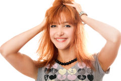 Portrait of cheerful beautiful red-haired girl Royalty Free Stock Photos