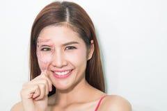 Portrait of cheerful beautiful woman making curl eyelashes using royalty free stock image
