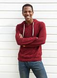 Portrait of a cheerful black man smiling royalty free stock image