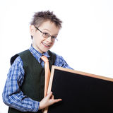 Portrait of cheerful boy pointing to banner Stock Photos