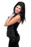 Portrait of a cheerful brunette in black clothes Stock Photo