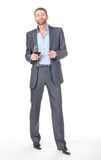 Portrait of cheerful business man with glass wine Stock Images