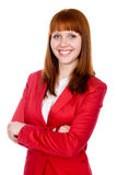 Portrait of a cheerful business woman in a red jacket Royalty Free Stock Photo