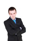 Portrait of cheerful businessman in black suite. Royalty Free Stock Image