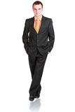 Portrait of cheerful businessman in black suite. Stock Photo