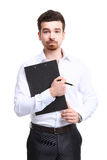 Portrait of cheerful businessman making notes Stock Image