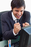 Portrait of a cheerful businessman working with a computer Royalty Free Stock Photography