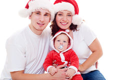 Portrait of cheerful christmas family stock photo