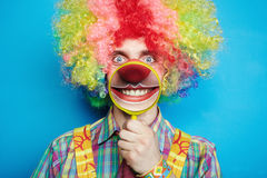 Portrait cheerful clown with the big smile Stock Photos