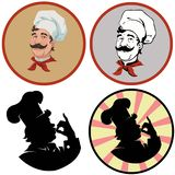 Portrait of cheerful cook.Set of four illustrations Royalty Free Stock Photography