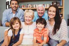 Portrait of cheerful family with grandparents Stock Images