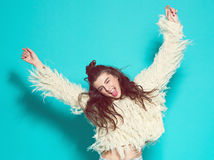 Portrait of cheerful fashion hipster girl going Stock Images