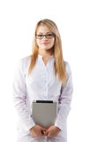Portrait of cheerful female doctor with clipboard Stock Images