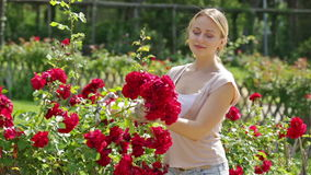 Portrait of cheerful female gardener stock footage