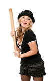 Portrait of cheerful girl with a bat Stock Image
