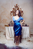 Portrait of cheerful girl with champagne Royalty Free Stock Images