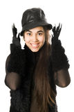 Portrait of cheerful girl in gloves Stock Images