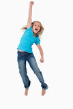 Portrait of a cheerful girl jumping Stock Photos