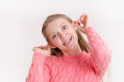 Portrait of cheerful girl with protruding ears Royalty Free Stock Photo