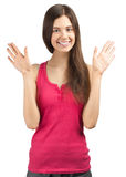 Portrait of cheerful girl with raised arms Royalty Free Stock Photos
