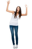 Portrait of cheerful girl with raised arms Stock Photography