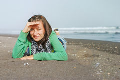 Portrait of cheerful girl on the sea. Stock Images