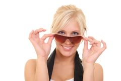 Cheerful girl in sunglasses. Portrait of a cheerful girl in sunglasses royalty free stock images