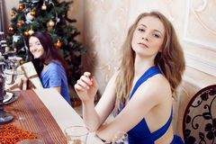 Portrait of cheerful girls at the Cristmas party Stock Photography