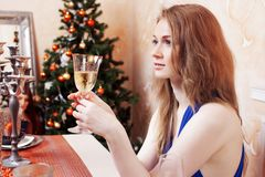 Portrait of cheerful girls at the Cristmas party Stock Images